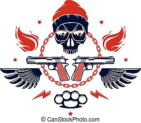 Gangster skull vector logo, icon or tattoo, urban stylish ...