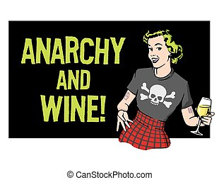 Anarchy and Wine Punk Rock Housewife Vector Design