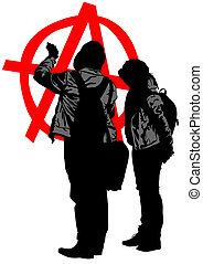 Anarchy couple - Vector drawing of anarchists with large...