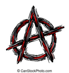anarchy - painted anarchy symbol on white background