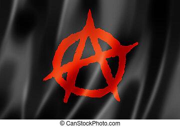 Anarchy flag, three dimensional render, textured