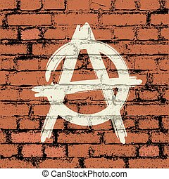 anarchy sign on brick wall