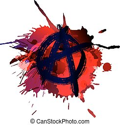 Anarchy sign on the grunge splashes background
