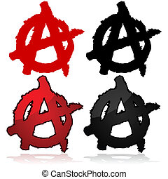 Anarchy symbol - Symbol of the anarchist movement, a capital...