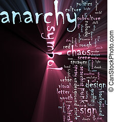 Anarchy word cloud glowing