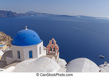 church in Oia in front of caldera