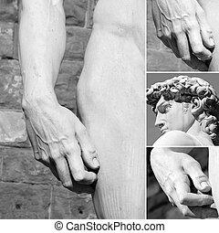 anatomía, collage, italia, florencia, david