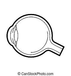 anatomía, icono, globo ocular, vector, ilustración
