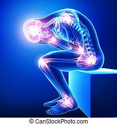 anatomi, manlig, skarv, smärta