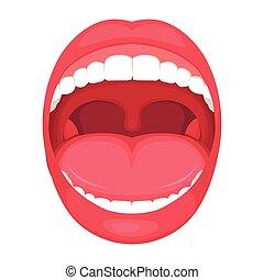 anatomia, bocca aperta, umano