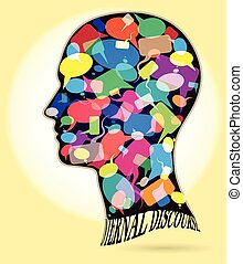 Profile of a man with many colorful thought bubbles