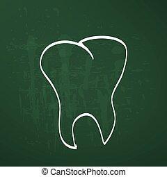 anatomie, geverfde, illustratie, tand, krijt, vector, chalkboard
