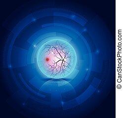 anatomie, van, de, oog, fundus, mooi, blauwe , abstract, technologie, achtergrond