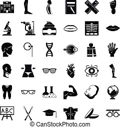 Anatomy of organ icons set, simple style