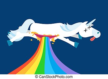 Anatomy unicorn From belly Intestines fell rainbow. Dead Fantastic animal with horn. Corpse is mythical beast