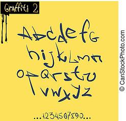 anca, alfabeto, font, graffito, luppolo