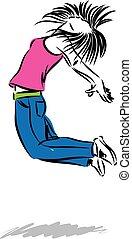 anca, ballerino, illustrazione, salto, vettore, luppolo