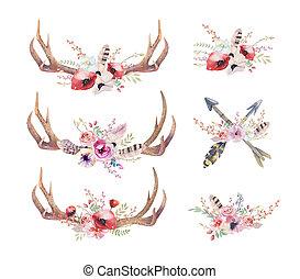 anca, cervo, mammals., watercolour, acquarello, boemo, occidentale, horns.