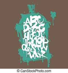 anca, grafitti, colorito, alfabeto, letters., graffito, luppolo, disegno, font