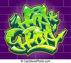 anca, iscrizione, etichetta, vettore, graffito, luppolo, style.