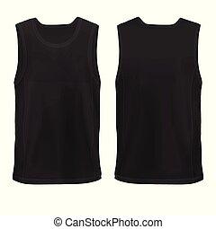 anca, manichino, camicia, sleeveless, man`s, vettore, nero,...