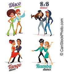 anca, rumba, ballo, tango, discoteca, couples, vettore, luppolo, cartone animato