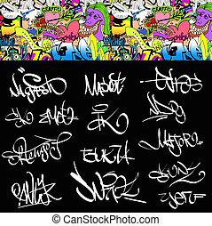 anca, urbano, arte, etichette, set., illustrazione, graffito, luppolo, disegno, font