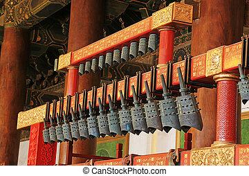 ancestral, carillones, templo, imperial, chino, de, vestíbulo