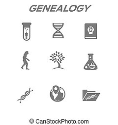 Ancestry or Genealogy Icon Set with Family Tree Album, DNA,...