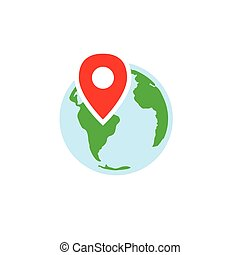 Ancestry or Genealogy Icon with Earth & pinpoint
