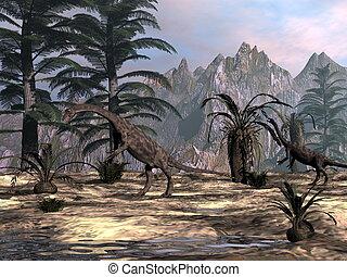 Anchisaurus dinosaurs -3D render