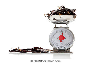 Ancho peppers on a food scale on white with copy space