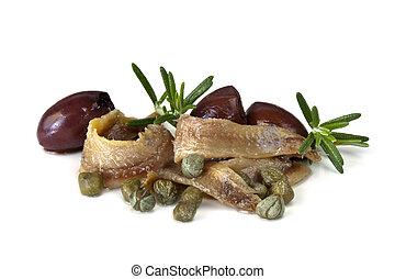 anchois, câpres, olives