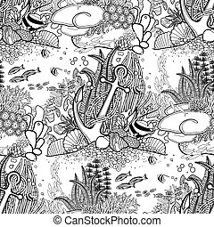 Anchor and coral reef pattern - Anchor and coral reef drawn...