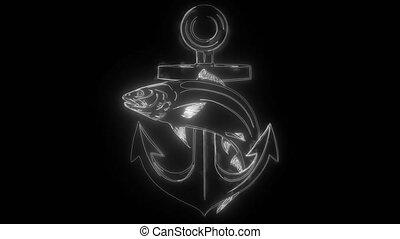 Anchor and fish digital animation