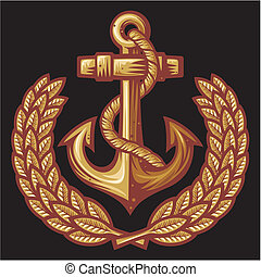 anchor and laurel wreath badge