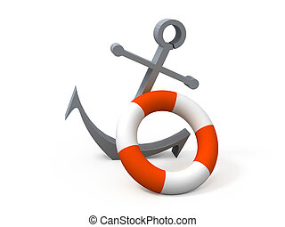 Anchor and life buoy nearby. 3D an illustration