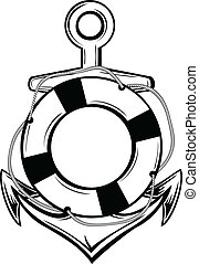 anchor and ring-buoy - Vector illustration emblem anchor and...