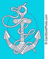 Anchor and rope fashion vector illustration