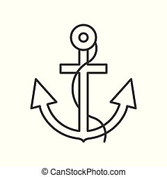 Anchor and rope outline icon on white background
