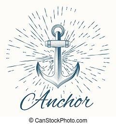 anchor and vintage sun burst frame, excellent vector ...