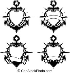 anchor and wind rose and shield - Vector illustration sea...