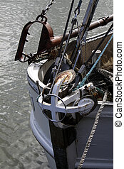 Anchor at the bow of a fishing boat