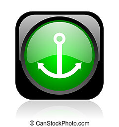 anchor black and green square web glossy icon
