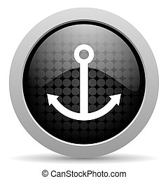 anchor black circle web glossy icon