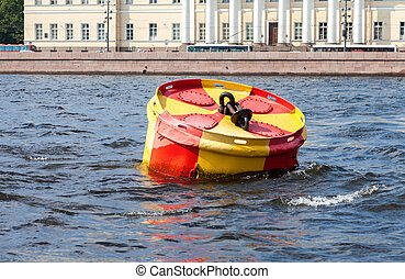 Anchor buoy at the Neva river in Saint-Petersburg, Russia