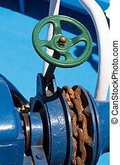 Anchor chain closeup on a boat