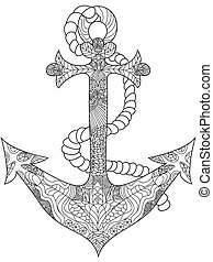 Anchor Coloring vector for adults - Anchor coloring book for...