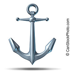 Anchor on a white background with a metal heavy nautical...