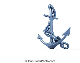 Anchor - Metal anchor with chain on white background - 3d...